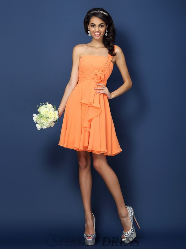 A-Line/Princess Strapless Chiffon Sleeveless Short/Mini Bridesmaid Dresses