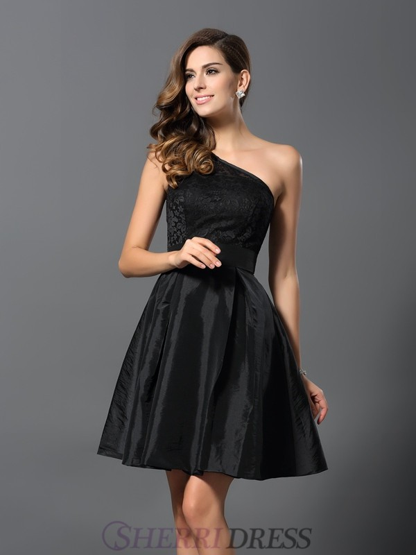 A-Line/Princess One-Shoulder Taffeta Sleeveless Short/Mini Bridesmaid Dresses