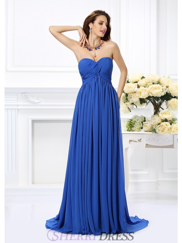 A-Line/Princess Sweetheart Chiffon Sleeveless Chapel Train Prom Dresses