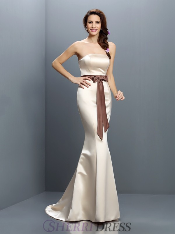 Trumpet/Mermaid Strapless Satin Sleeveless Sweep/Brush Train Bridesmaid Dresses