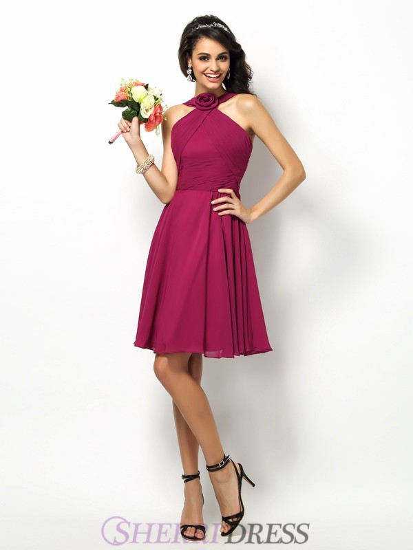 A-Line/Princess High Neck Chiffon Sleeveless Short/Mini Bridesmaid Dresses