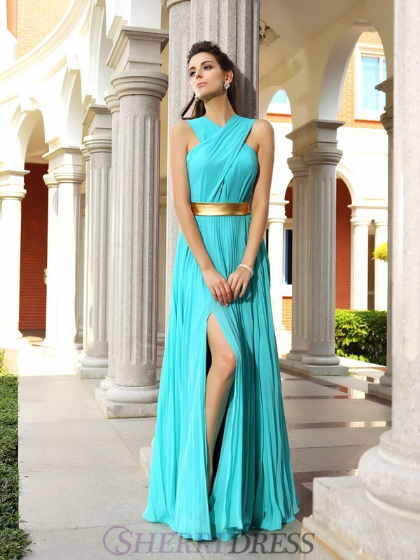 A-Line/Princess Chiffon Sleeveless Floor-Length Dresses