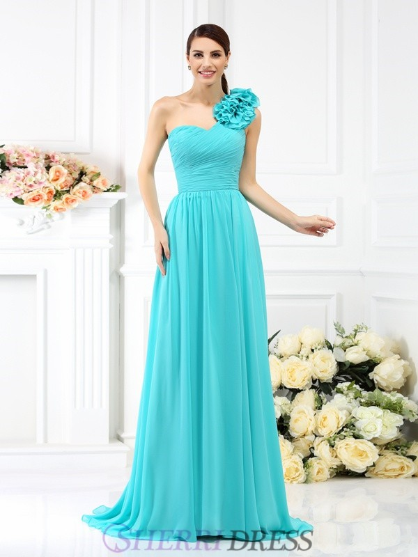 A-Line/Princess One-Shoulder Chiffon Sleeveless Sweep/Brush Train Bridesmaid Dresses