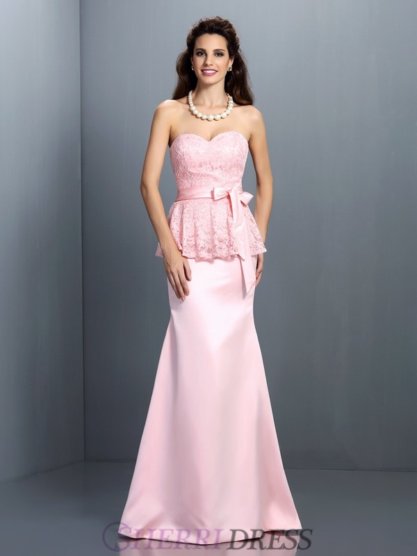 Trumpet/Mermaid Sweetheart Satin Sleeveless Floor-Length Bridesmaid Dresses