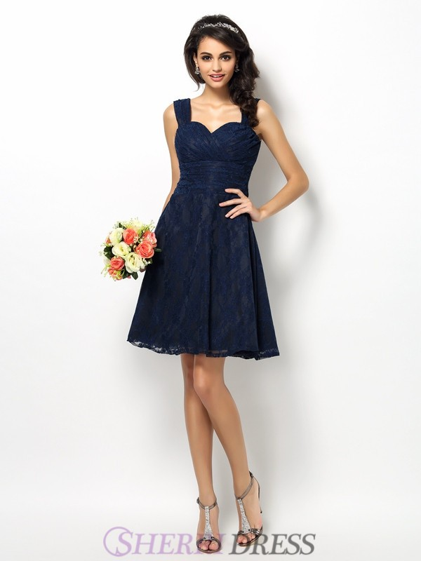 A-Line/Princess Straps Satin Sleeveless Short/Mini Bridesmaid Dresses