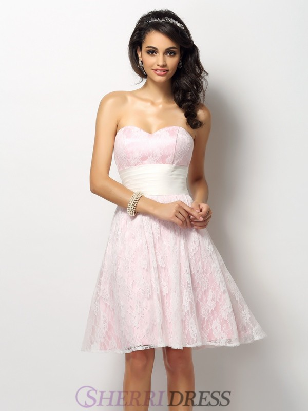 A-Line/Princess Sweetheart Satin Sleeveless Short/Mini Bridesmaid Dresses