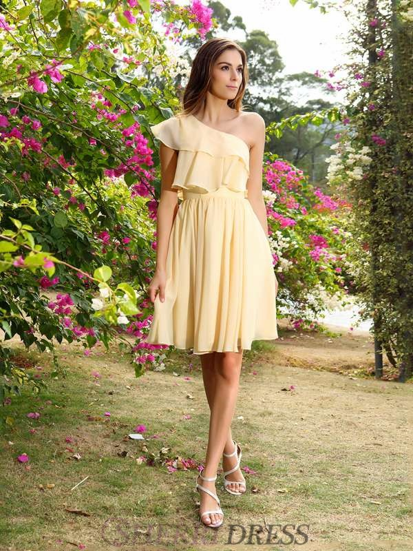 A-Line/Princess One-Shoulder Chiffon Sleeveless Short/Mini Bridesmaid Dresses
