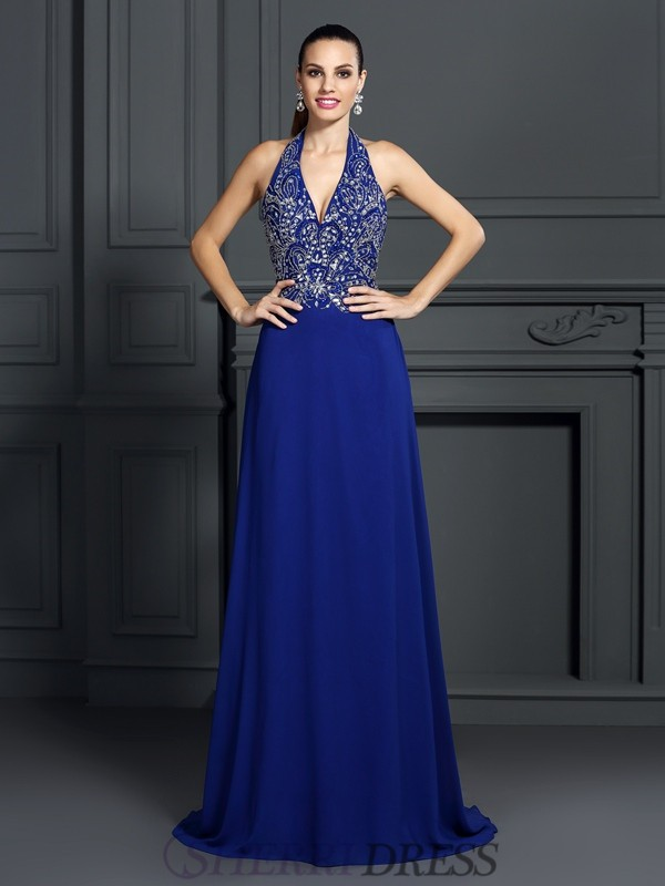 A-Line/Princess Halter Chiffon Sleeveless Sweep/Brush Train Dresses