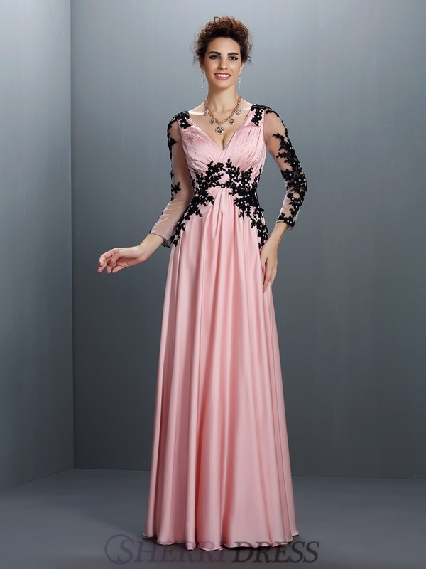 A-Line/Princess V-neck Chiffon 3/4 Sleeves Floor-Length Dresses