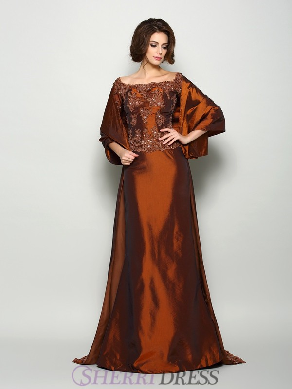 A-Line/Princess Off-the-Shoulder Taffeta 1/2 Sleeves Sweep/Brush Train Mother of the Bride Dresses