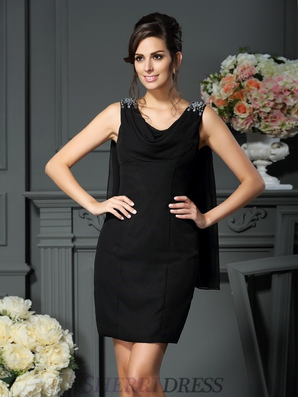 Sheath/Column Scoop Chiffon Sleeveless Short/Mini Mother of the Bride Dresses