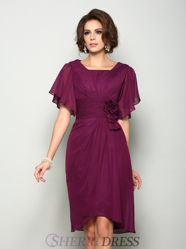A-Line/Princess Square Chiffon Short Sleeves Knee-Length Mother of the Bride Dresses
