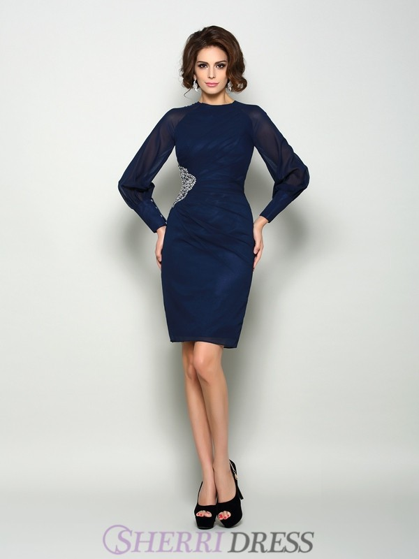 Sheath/Column High Neck Chiffon Long Sleeves Knee-Length Mother of the Bride Dresses