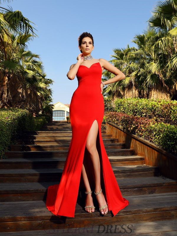 Sheath/Column High Neck Spandex Sleeveless Court Train Dresses