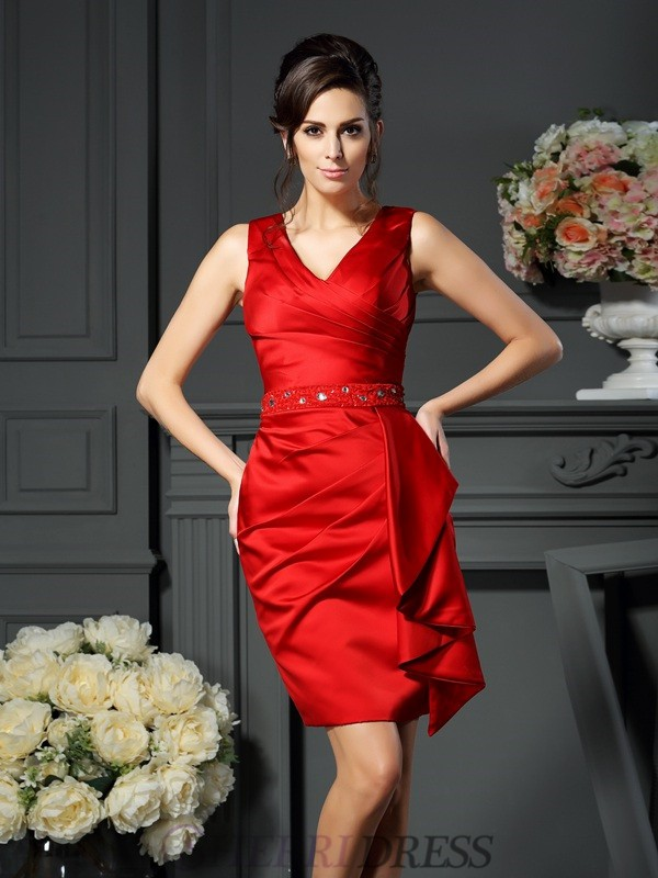 Sheath/Column V-neck Satin Sleeveless Knee-Length Mother of the Bride Dresses