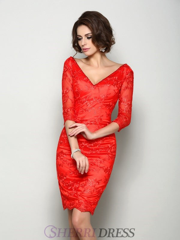 Sheath/Column V-neck Lace 1/2 Sleeves Knee-Length Mother of the Bride Dresses