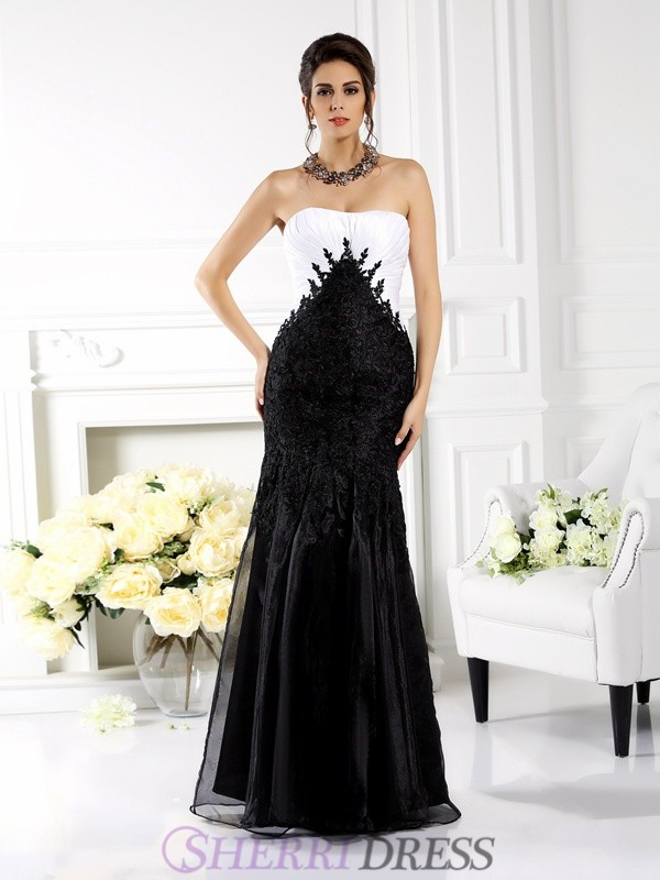Trumpet/Mermaid Strapless Tulle Sleeveless Floor-Length Dresses