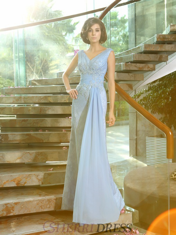 Sheath/Column V-neck Lace Sleeveless Floor-Length Mother of the Bride Dresses