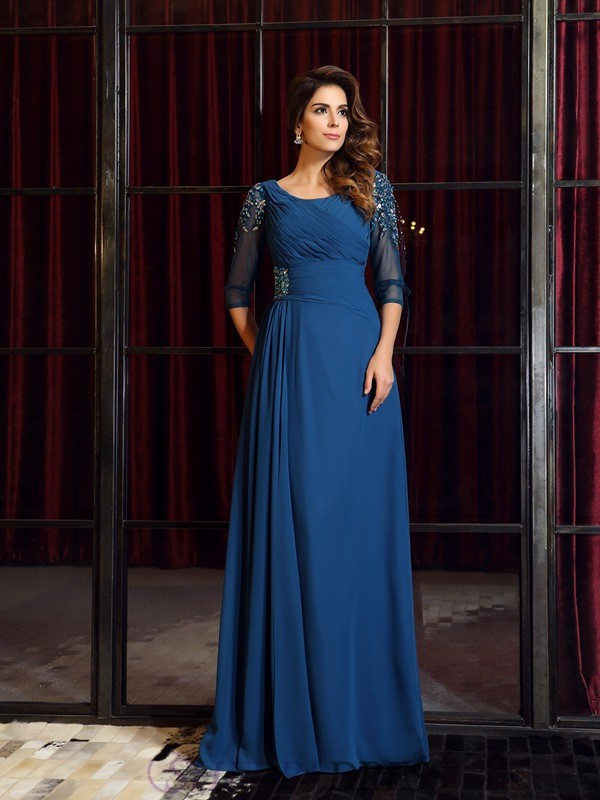 A-Line/Princess Square Chiffon 1/2 Sleeves Floor-Length Dresses