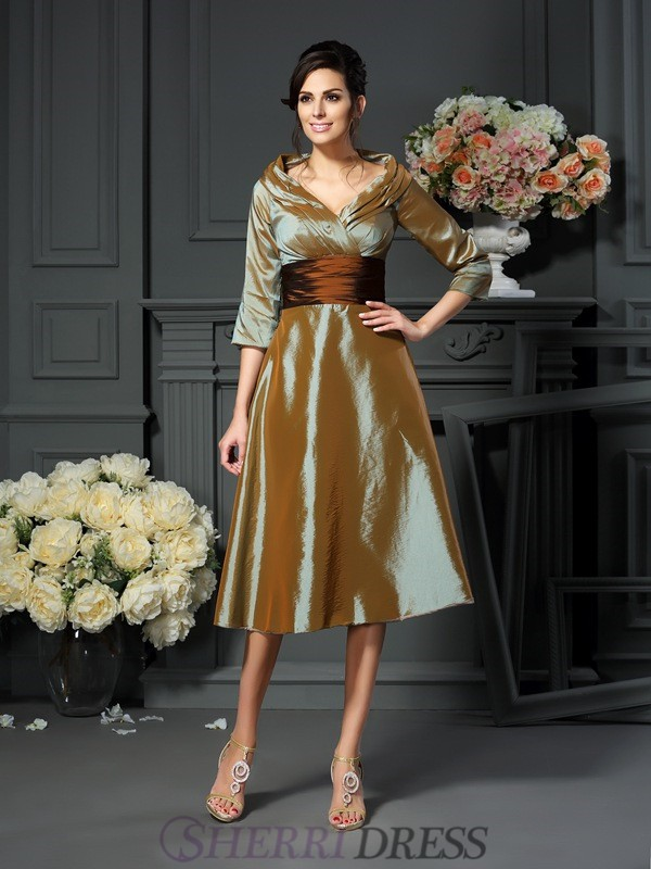 A-Line/Princess V-neck Taffeta 3/4 Sleeves Tea-Length Mother of the Bride Dresses