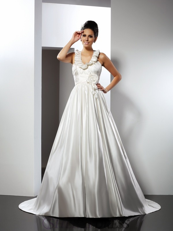 A-Line/Princess Halter Satin Sleeveless Chapel Train Wedding Dresses