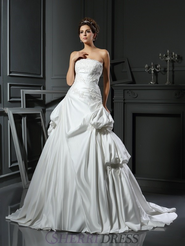 Ball Gown Strapless Satin Sleeveless Chapel Train Wedding Dresses