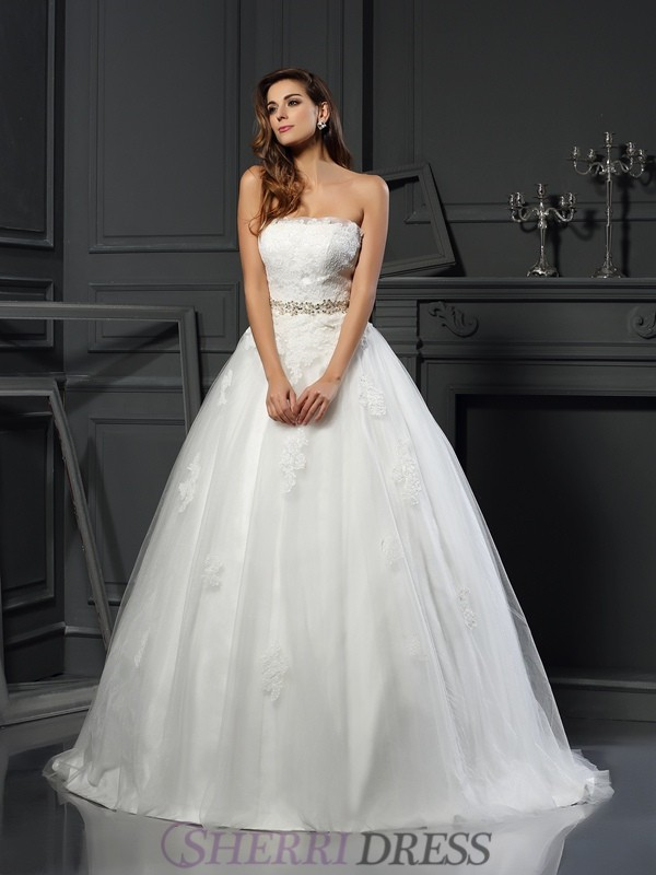 Ball Gown Strapless Net Sleeveless Court Train Wedding Dresses