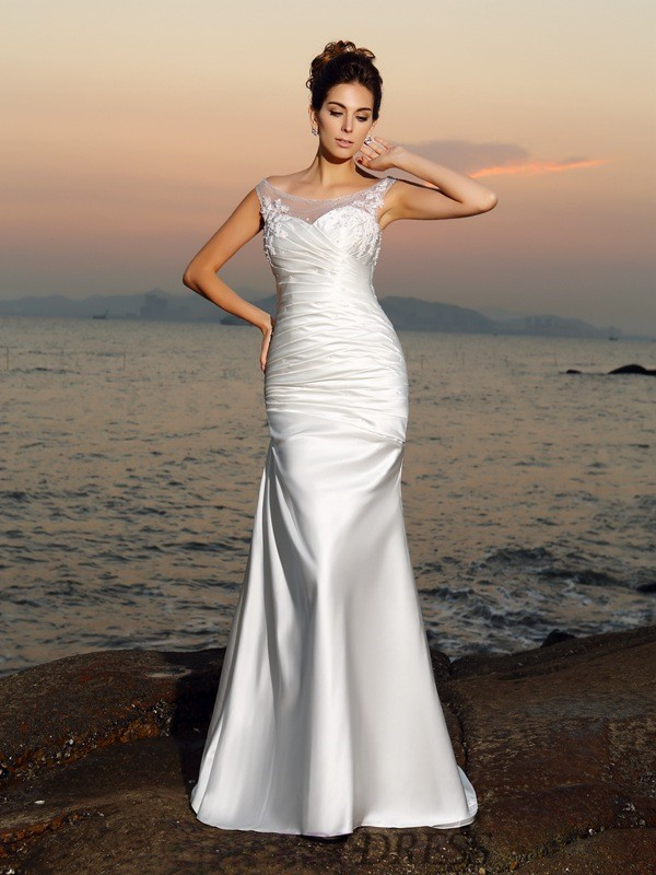 Trumpet/Mermaid Scoop Satin Sleeveless Sweep/Brush Train Wedding Dresses