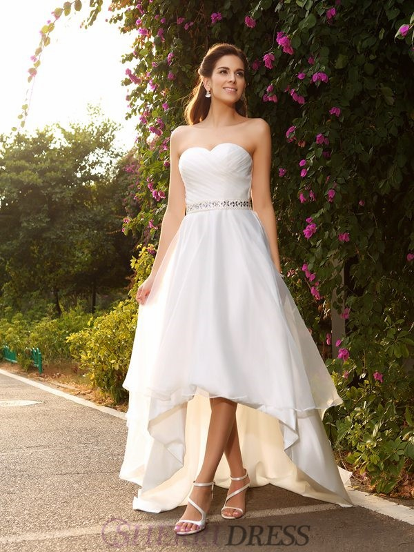 A-Line/Princess Sweetheart Organza Sleeveless Asymmetrical Wedding Dresses