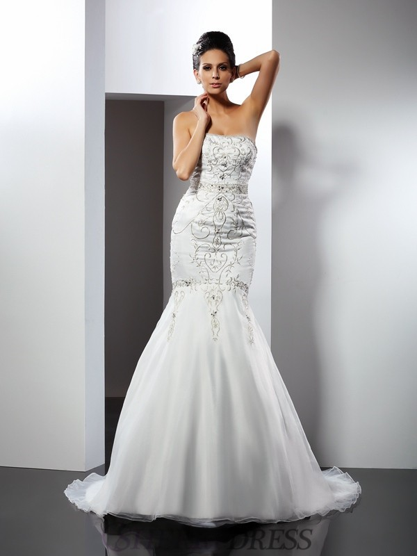 Trumpet/Mermaid Strapless Satin Sleeveless Chapel Train Wedding Dresses