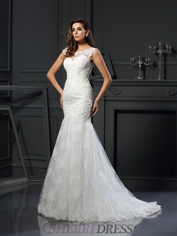Trumpet/Mermaid Scoop Tulle Short Sleeves Chapel Train Wedding Dresses