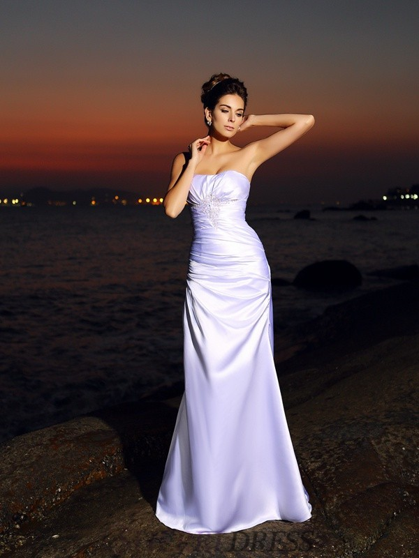 Trumpet/Mermaid Sweetheart Satin Sleeveless Chapel Train Wedding Dresses