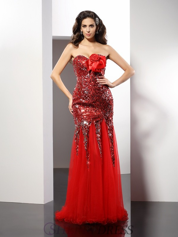 Sheath/Column Sweetheart Elastic Woven Satin Sleeveless Floor-Length Dresses