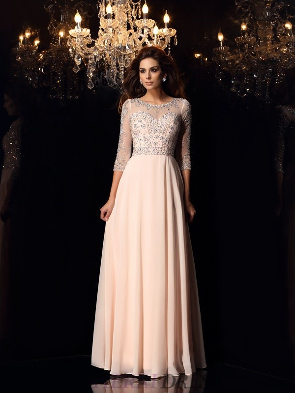 A-Line/Princess Scoop Chiffon 3/4 Sleeves Floor-Length Dresses