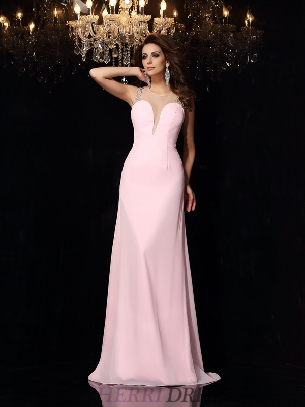 Trumpet/Mermaid Scoop Chiffon Sleeveless Court Train Prom Dresses