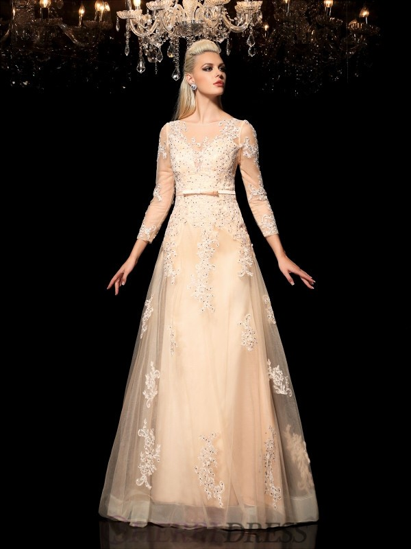 A-Line/Princess Sheer Neck Satin Long Sleeves Floor-Length Evening Dresses