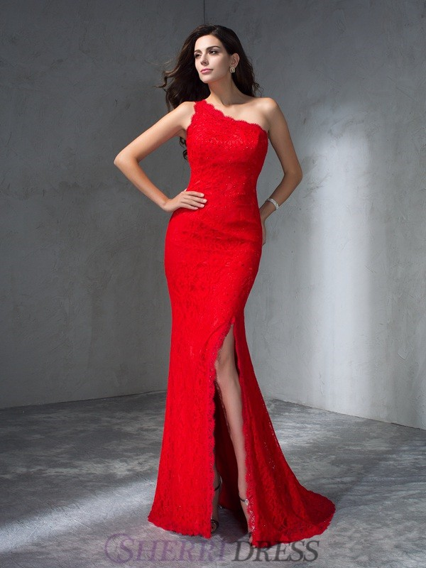 Trumpet/Mermaid One-Shoulder Lace Sleeveless Sweep/Brush Train Prom Dresses