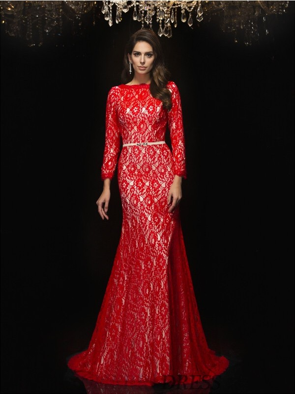 Sheath/Column Bateau Lace 3/4 Sleeves Sweep/Brush Train Evening Dresses