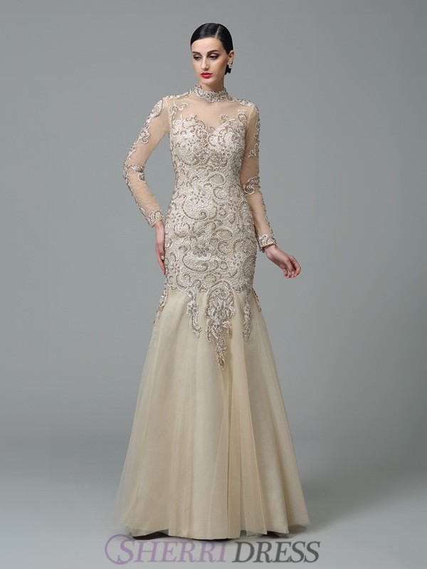 Sheath/Column High Neck Net Long Sleeves Floor-Length Evening Dresses