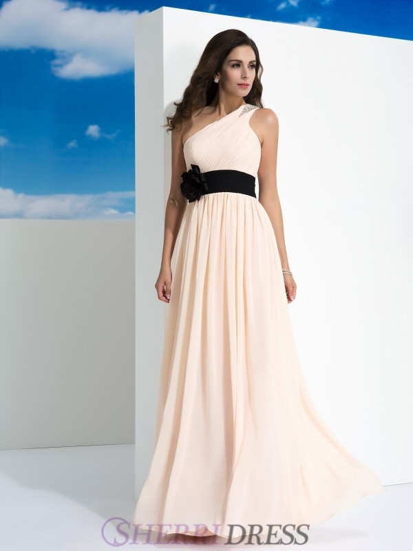 A-Line/Princess One-Shoulder Chiffon Sleeveless Floor-Length Evening Dresses