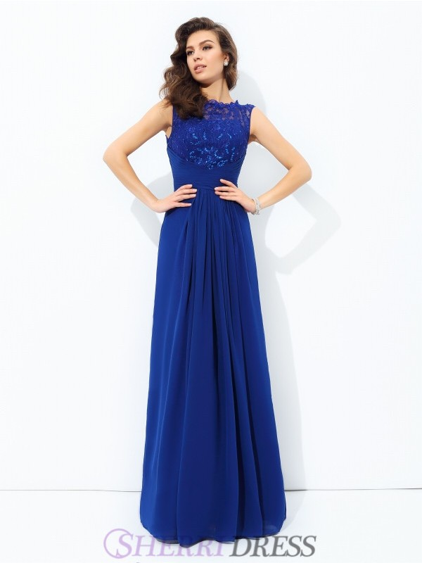 A-line/Princess Scoop Chiffon Sleeveless Floor-length Evening Dresses