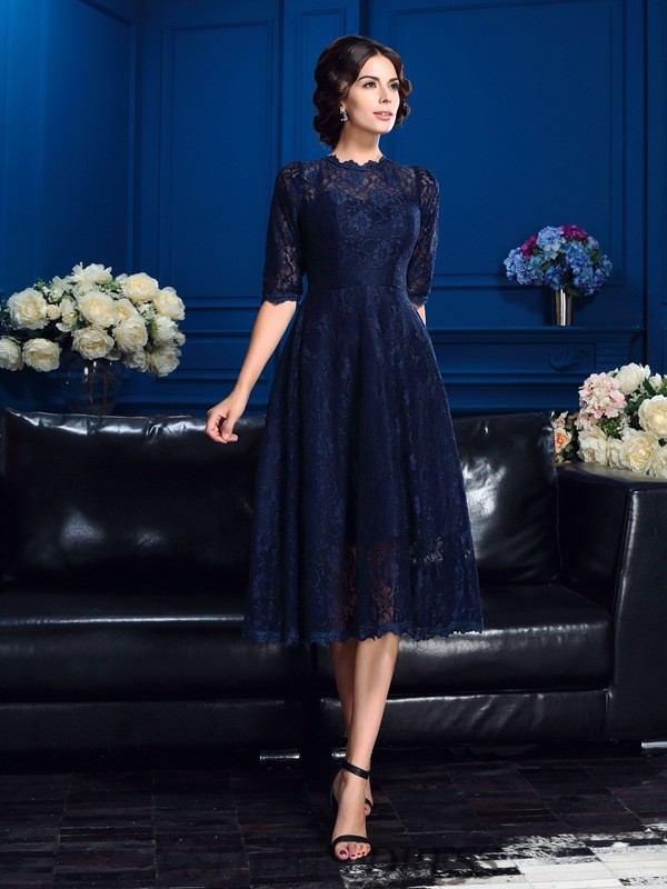 A-Line/Princess Jewel Lace 1/2 Sleeves Knee-Length Mother of the Bride Dresses