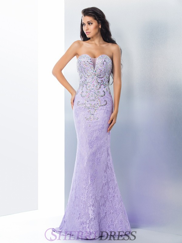 Trumpet/Mermaid Sweetheart Lace Sleeveless Sweep/Brush Train Prom Dresses