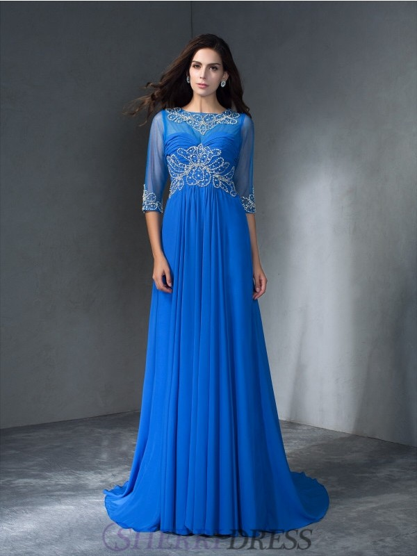 A-Line/Princess Scoop Chiffon 1/2 Sleeves Sweep/Brush Train Prom Dresses