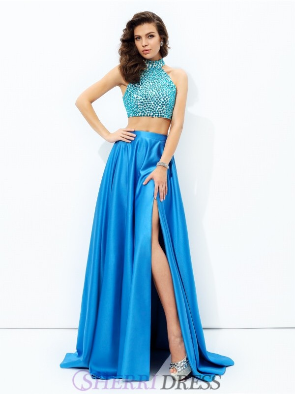 A-line/Princess High Neck Satin Sleeveless Court Train Two Piece Prom Dresses