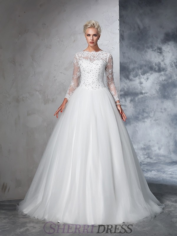 Ball Gown Bateau Net Long Sleeves Sweep/Brush Train Wedding Dresses