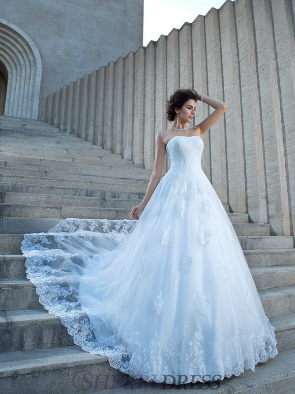 Ball Gown Spaghetti Straps Satin Sleeveless Chapel Train Wedding Dresses
