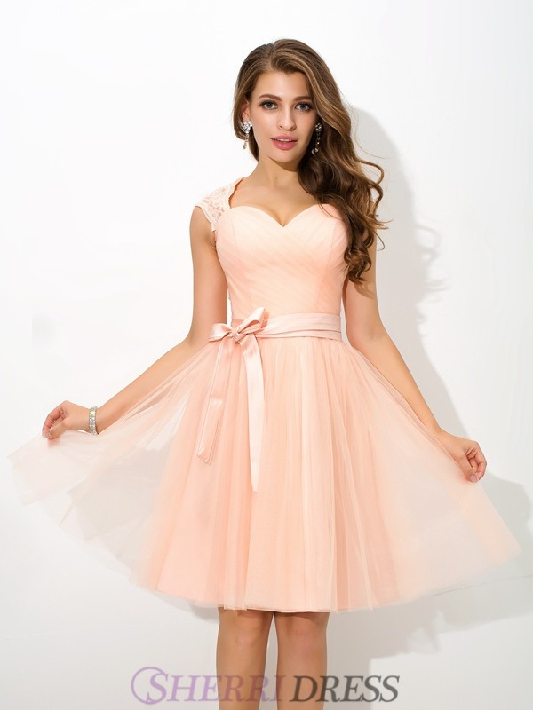 A-Line/Princess Straps Net Sleeveless Short/Mini Bridesmaid Dresses