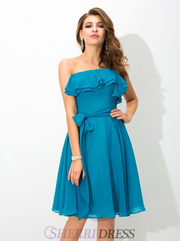 A-Line/Princess One-Shoulder Silk like Satin Sleeveless Knee-Length Bridesmaid Dresses
