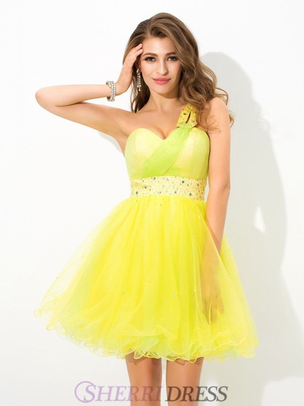 A-Line/Princess One-Shoulder Net Sleeveless Short/Mini Cocktail Dresses